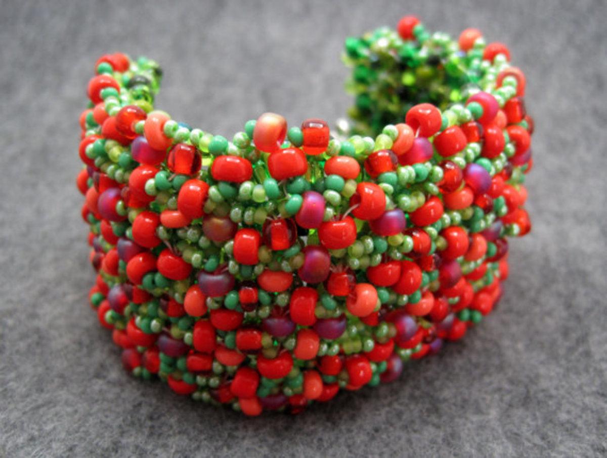 Beaded Cuff Bracelet - Strawberry Fields Forever