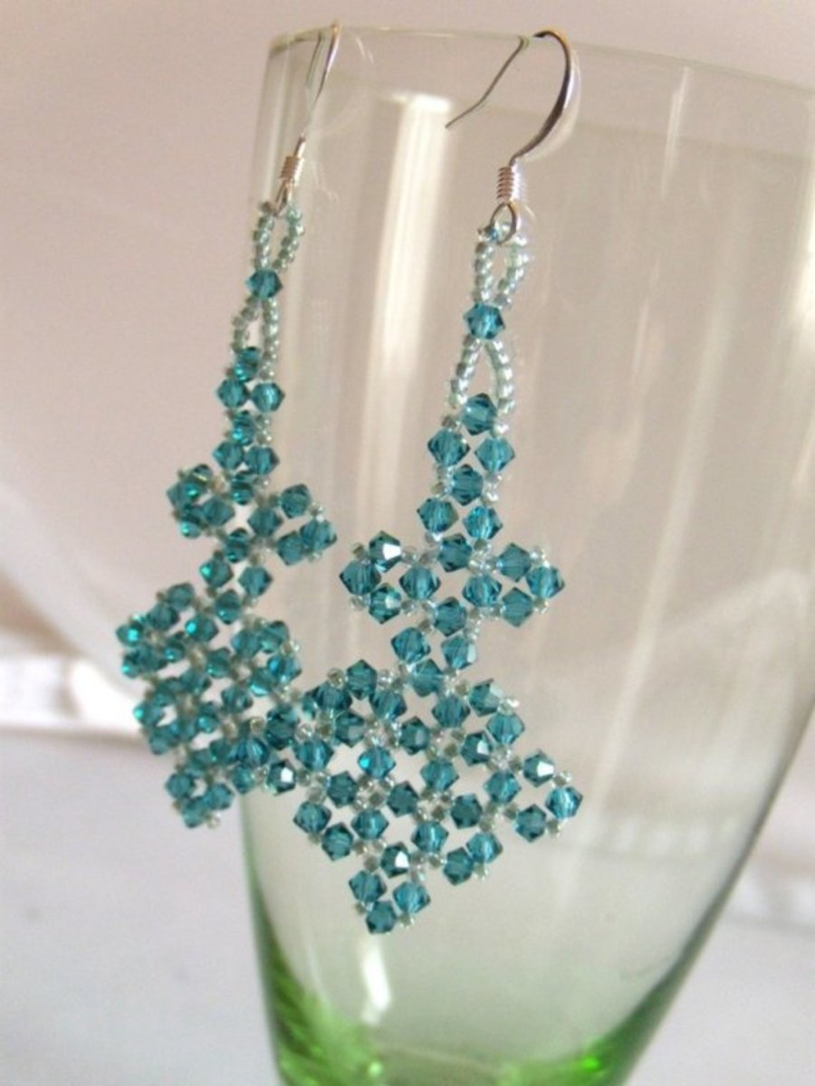 What's The Angle Beadwoven Earrings With Swarovski Crystals