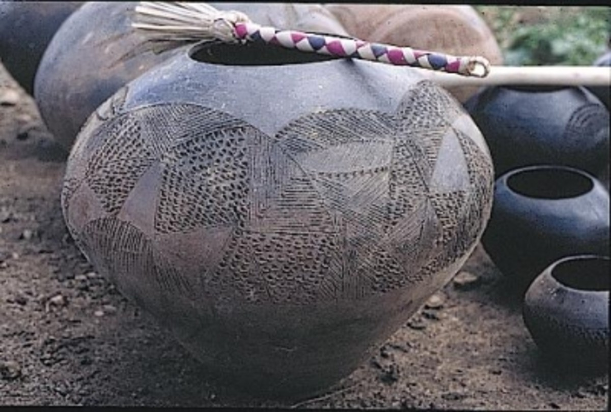 TheZulu ceramics shown here were baked in fire