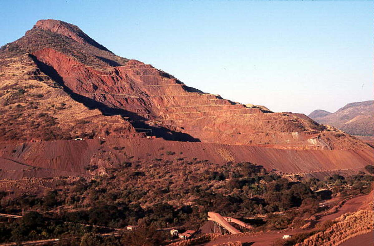 Thatba(means Mountain) in this case Thabazimbi means Mountain of iron- several pits have been established on the mountainous region underlain by steeply dipping Banded Iron Formation