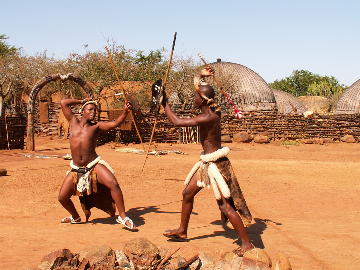 Zulu boys showing-off stick fighting