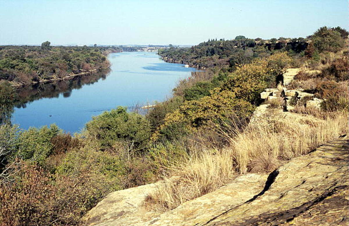 Vaal River near Bothaville, from cliffs cut into Karoo sandstones deposited in a beach environment, complete with heavy mineral placers
