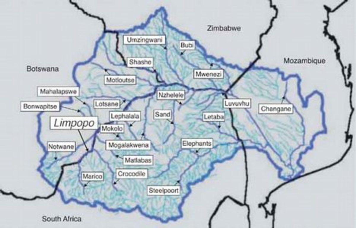 Major rivers and streams within Limpopo River Basin