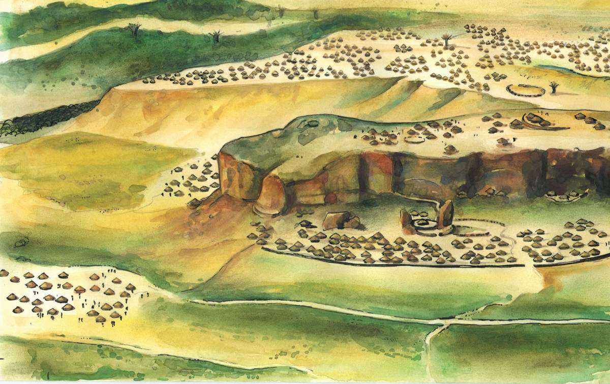An artists impression of Mapungubwe in the thirtheenth century A.D.