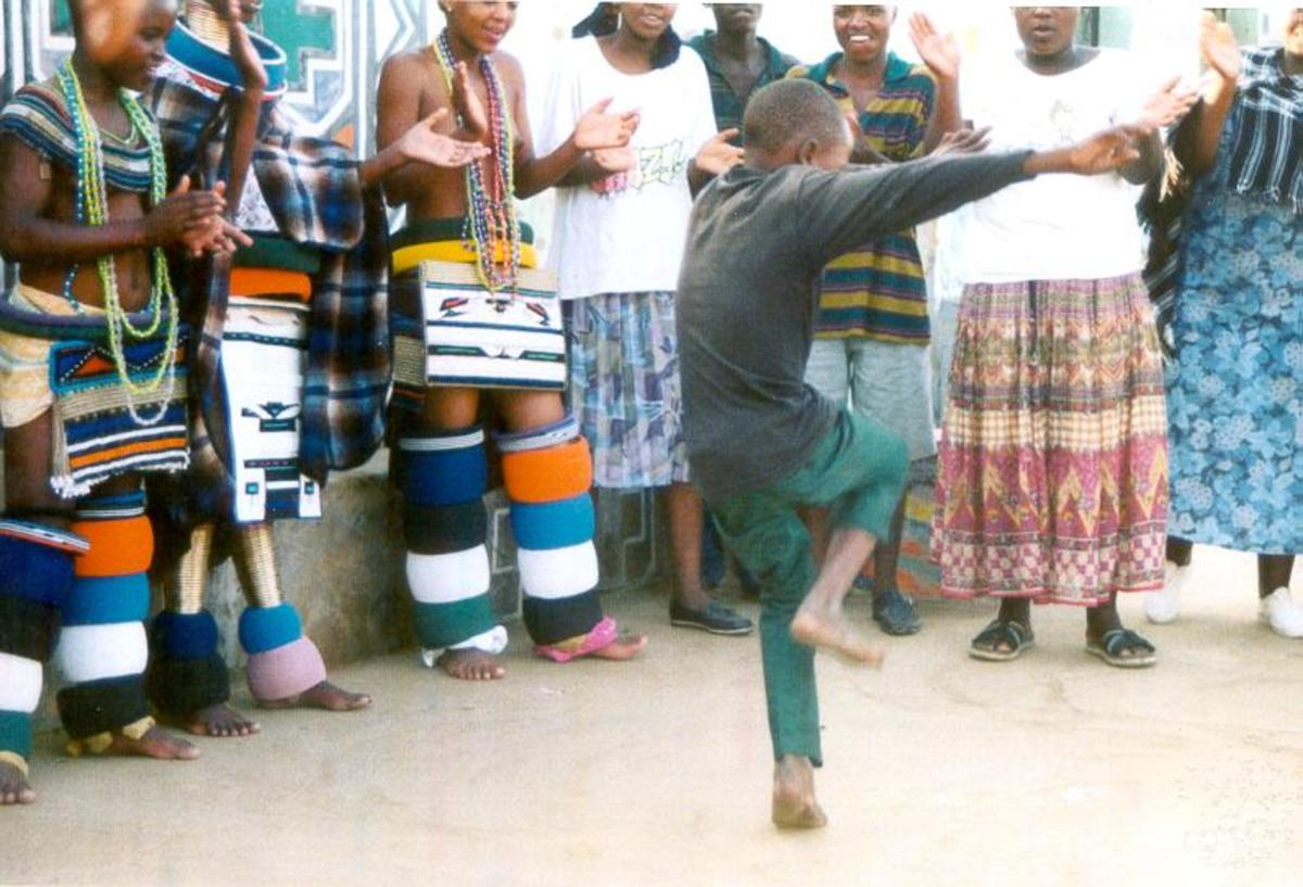 Ndebele children and elders in dance mode