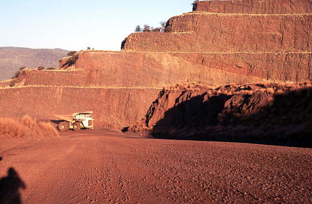 Good exposures of Banded Iron Formation can be seen in the open pit sidewalls, Thabazimbi Mines