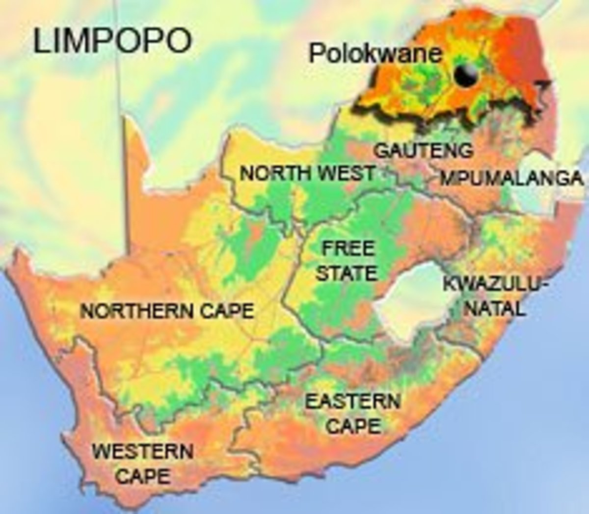 Limpopo takes up to 10.2% of South Africa's total Land Area
