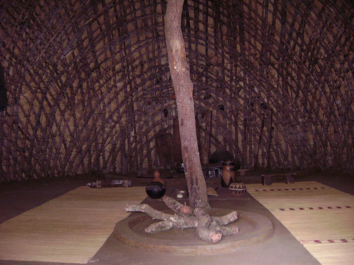 The inside design of the Zulu hut; note the central post and the bent stalks which are then covered with thatch