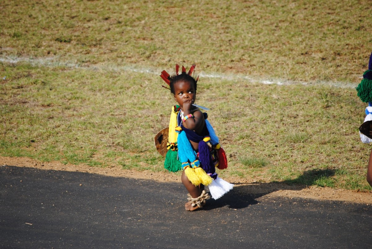 Child of the Swazi in traditional gear