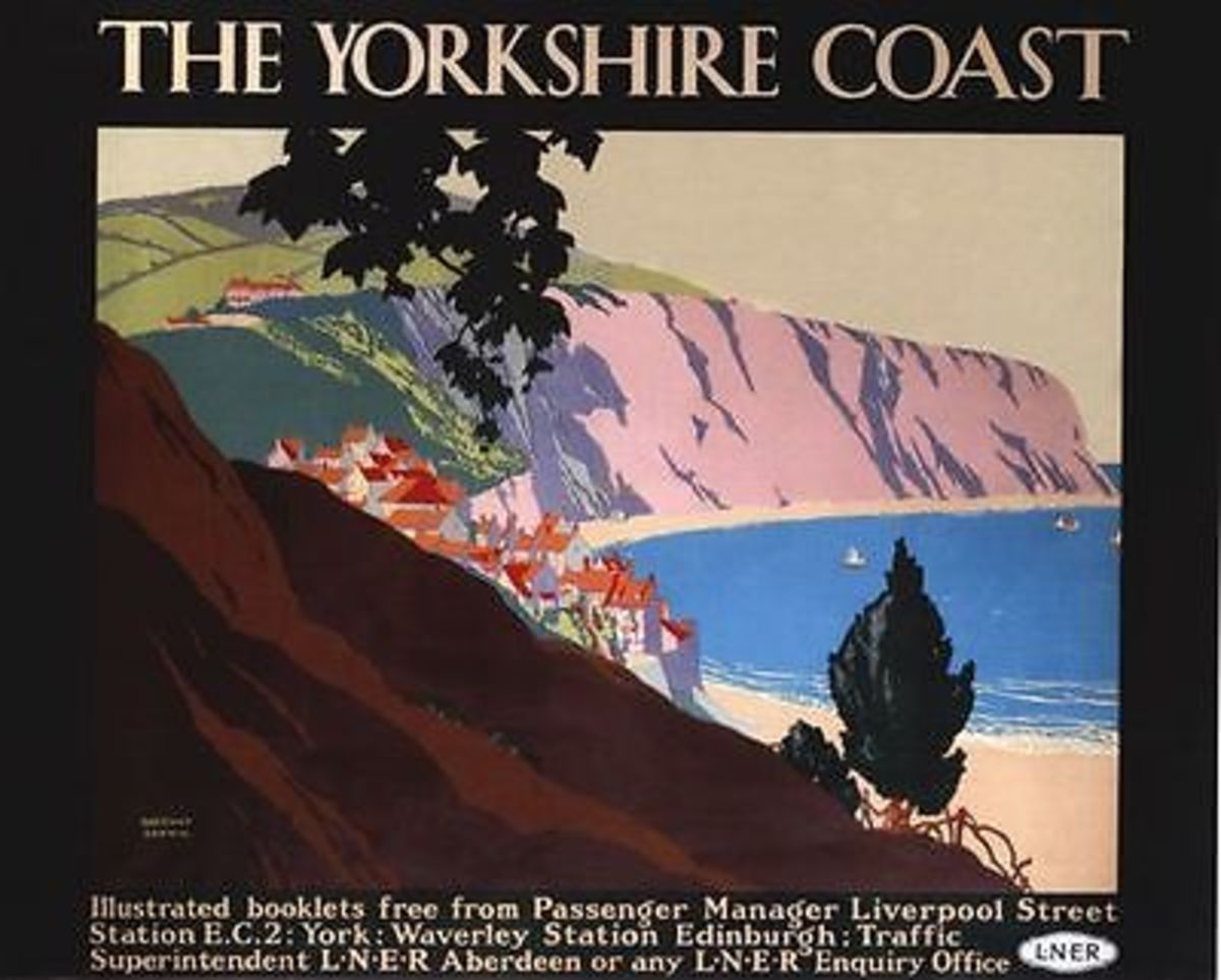 LNER poster advertises Robin Hood's Bay with its secluded village that 'climbs' the 1-in-4 gradient from sea level