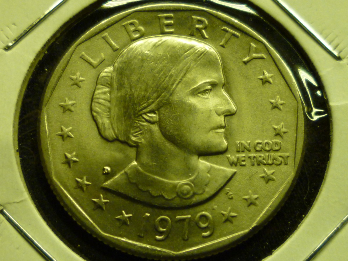 Value of Susan B Anthony Dollar. This 1979D in Mint State is worth around $3.
