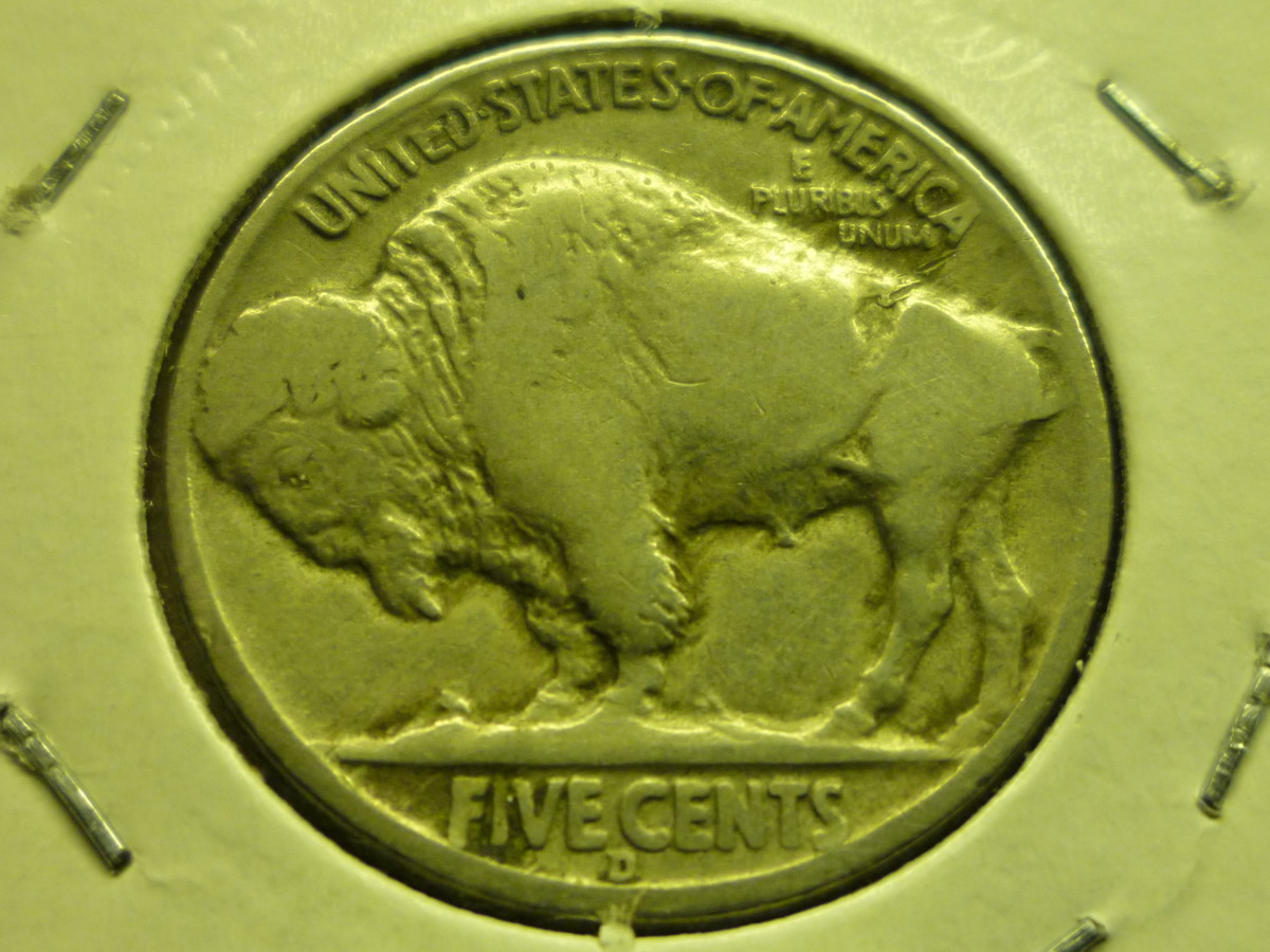 "Buffalo Nickel Reverse showing D Mintmark below ""FIVE CENTS"""