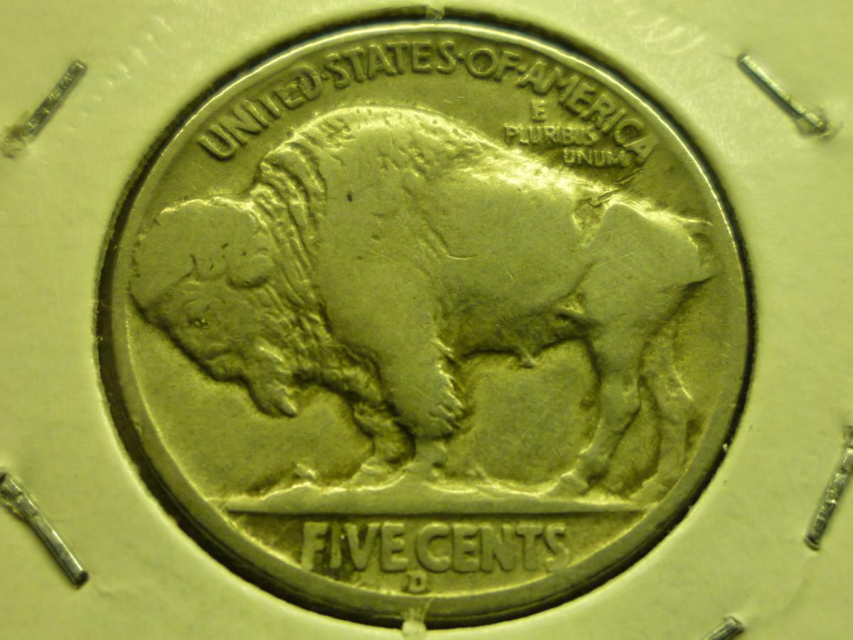 """Buffalo Nickel Reverse showing D Mintmark below """"FIVE CENTS"""""""