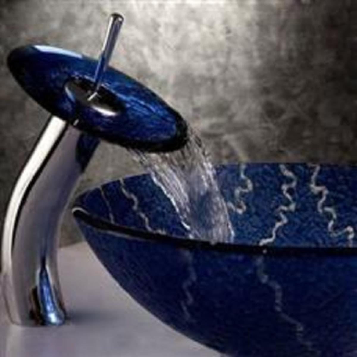 Waterfall Faucet in Cobalt Blue - luxury basin sink and faucet