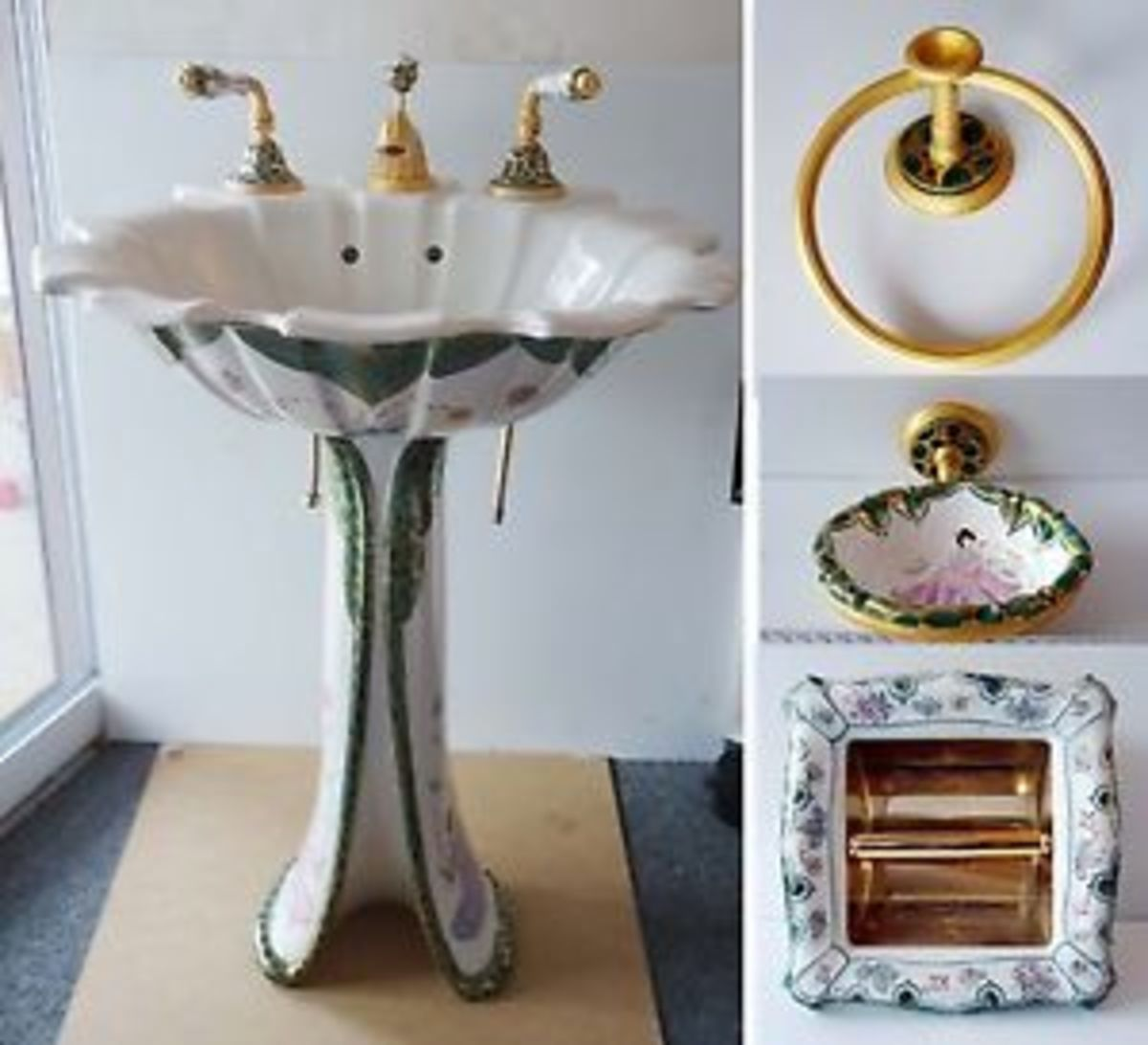 beautiful Chinoiserie Porcelain vessel sink