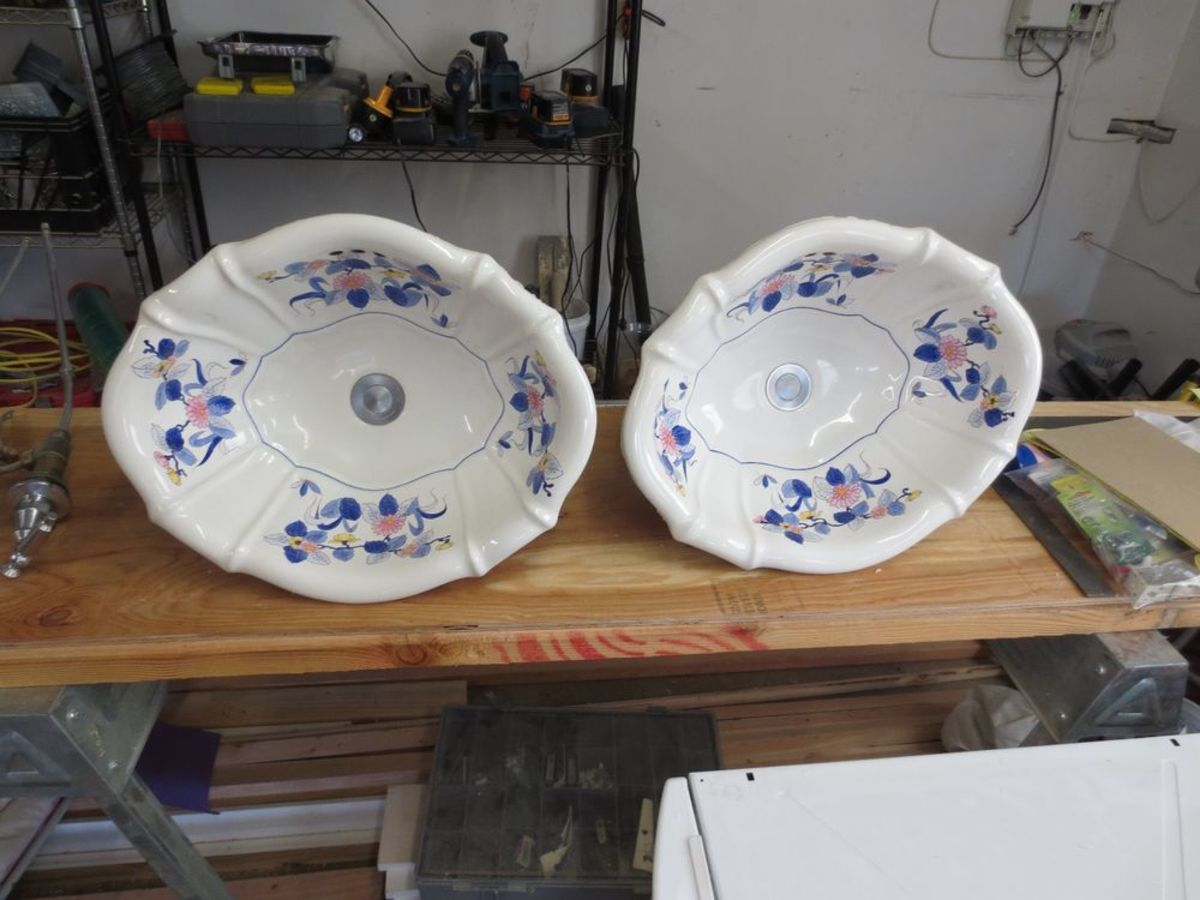two Sherle Wagner Chinoiserie Porcelain sinks found on eBay