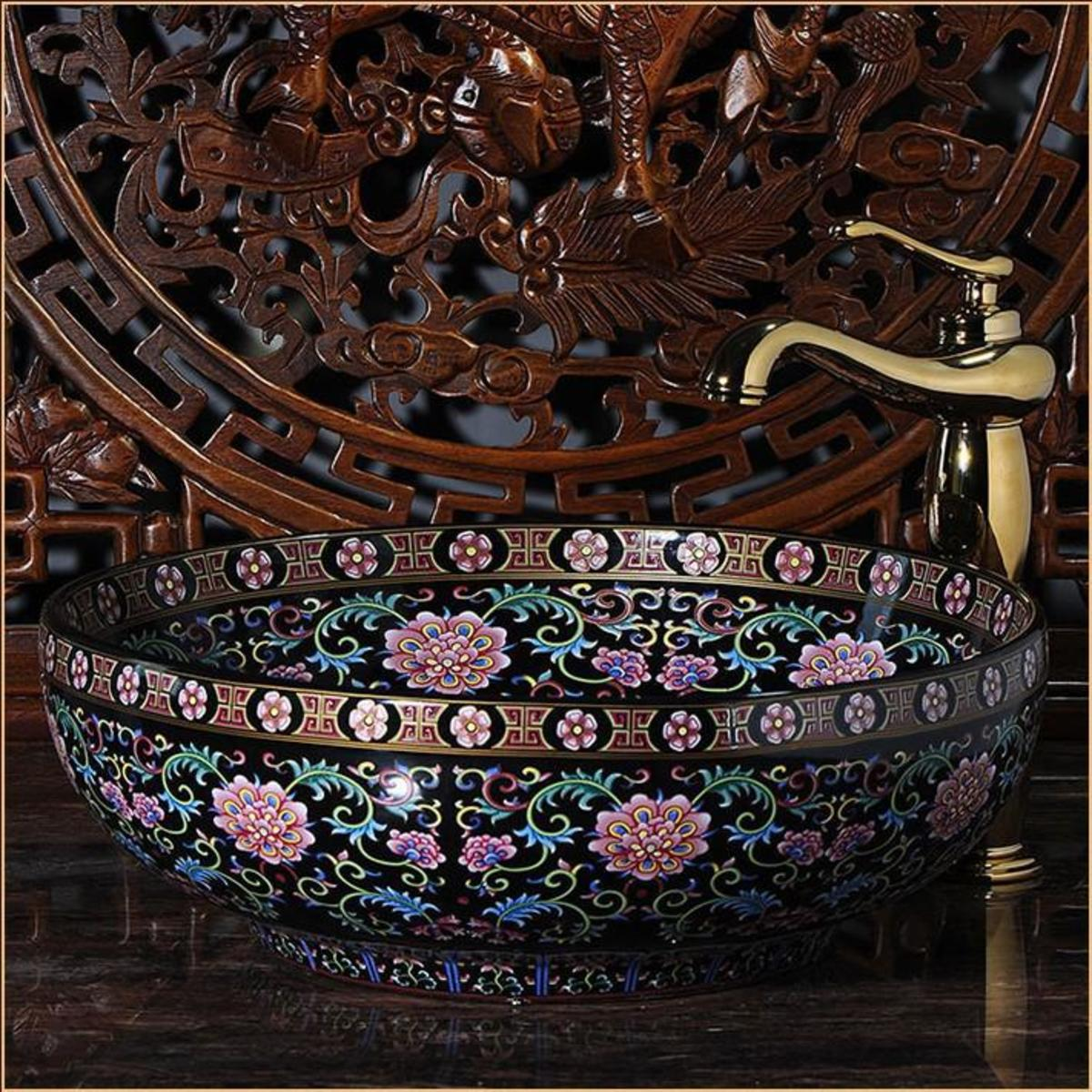 beautiful Chinoiserie Procelain vessel sink