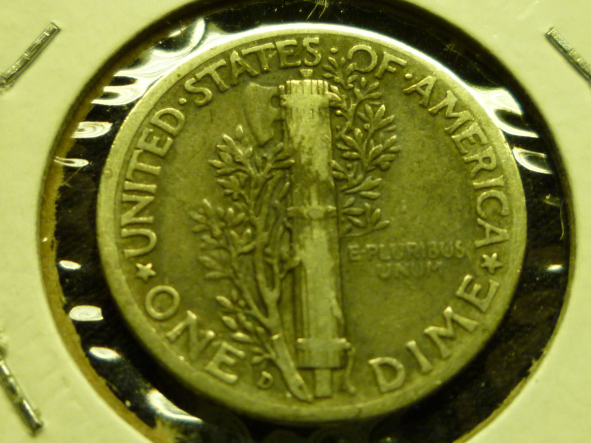 Mercury Dime Reverse. Mintmark is displayed on bottom near the olive branch.