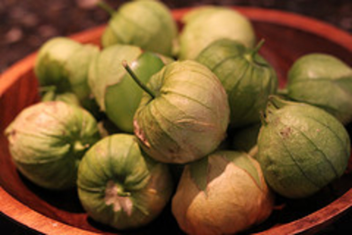 Unpeeled whole tomatillos