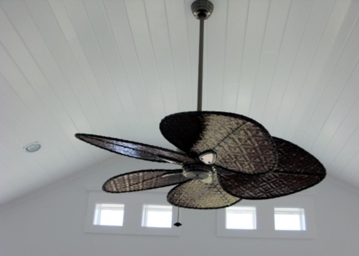 White beadboard ceiling
