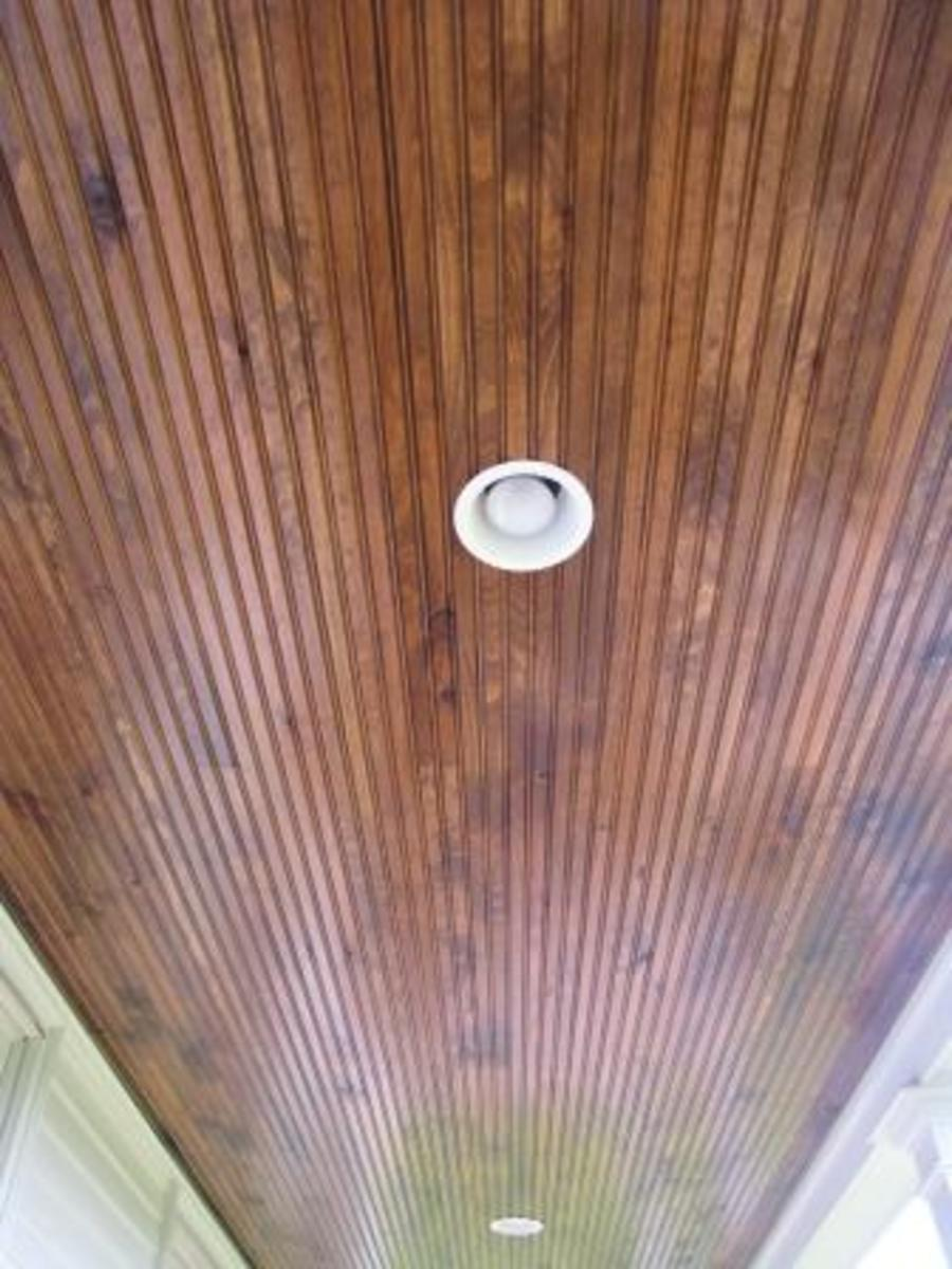 Oak beadboard ceiling
