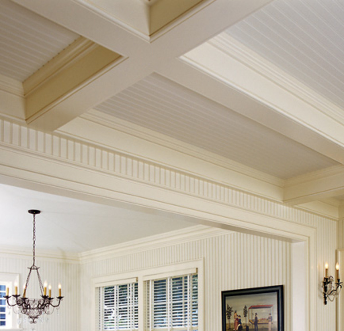 Beamed ceiling with beadboard
