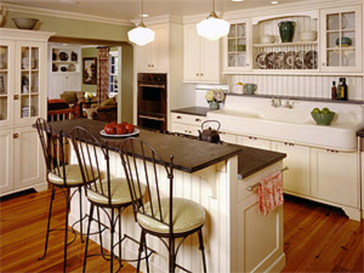 Classic white beadboard in kitchen
