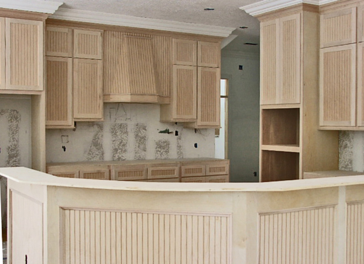 Beautiful maplewood beadboard kitchen cabinets