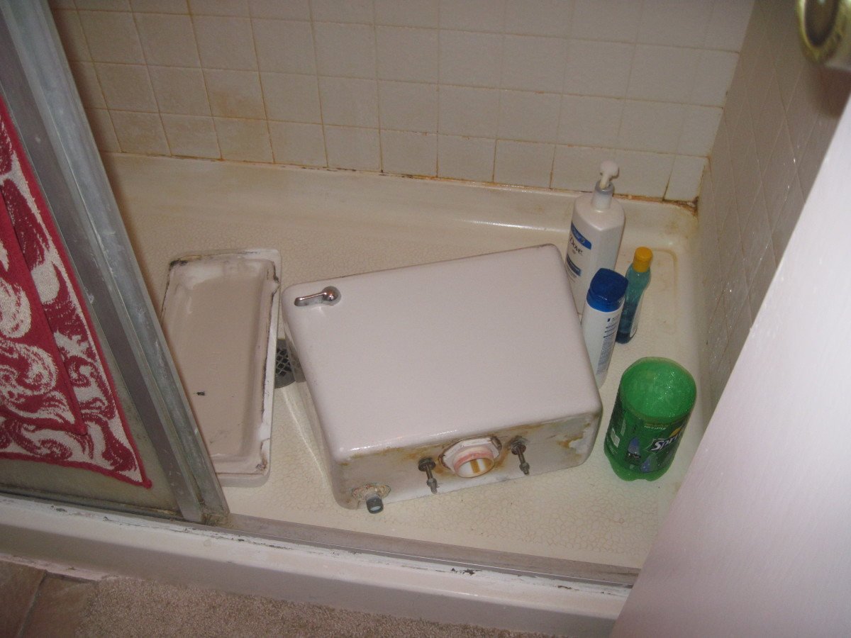 The Plumber removed the tank from the toilet and placed it in the shower stall.