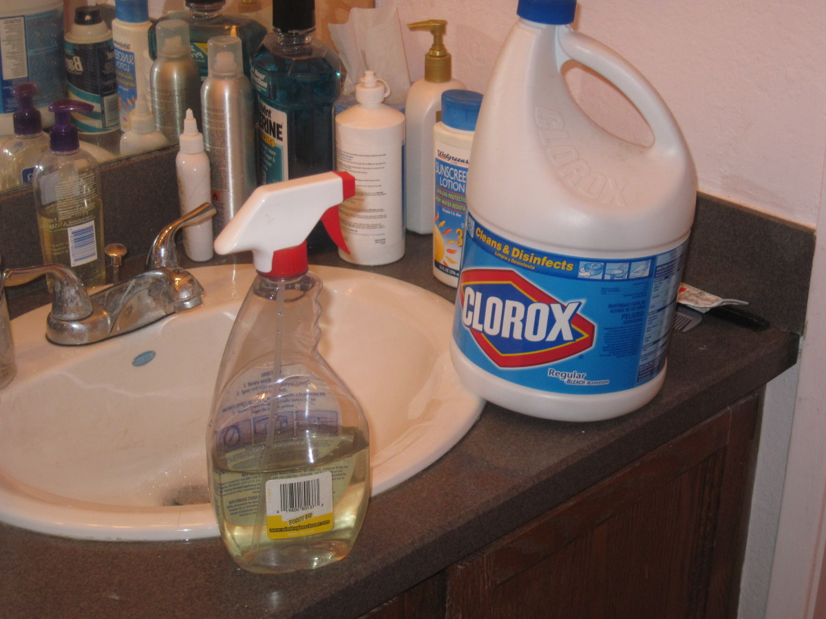 Filling a spray bottle with mixture of bleach and water to spray behind wall to prevent growth of mold.