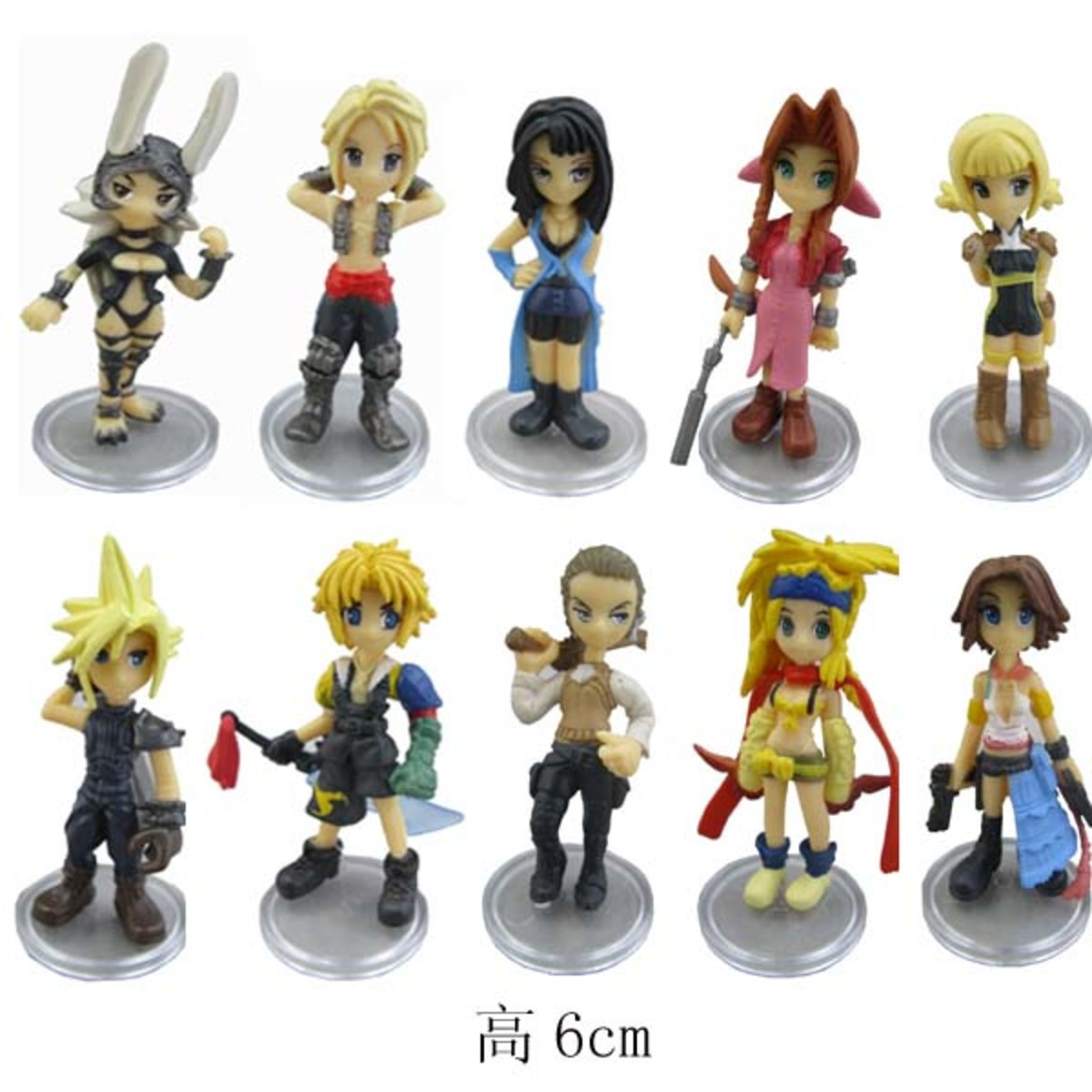 This photo shows up a lot on eBay listings and occasionally on Amazon. DO NOT BUY. The paint jobs are missing all kinds of details (Easiest to spot: Tidus' shoes should be yellow and black, not just black.)