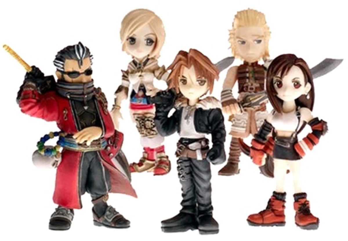 Auron, Ashe, Squall, Tifa. Japan exclusive: Basch