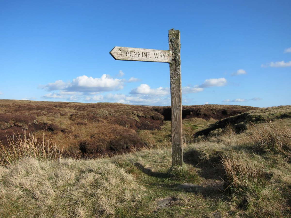 Pennine Way signpost points the way for north-south walkers