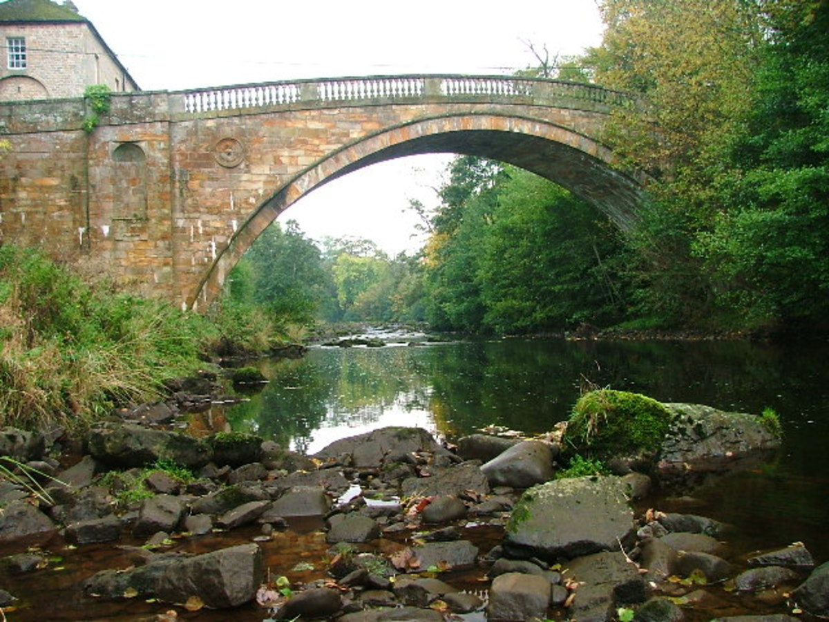 Greta Bridge near the Tees. Charles Dickens stayed at a hotel near here to research his book 'Nicholas Nickleby'. Dotheboys Hall was based on a local workhouse
