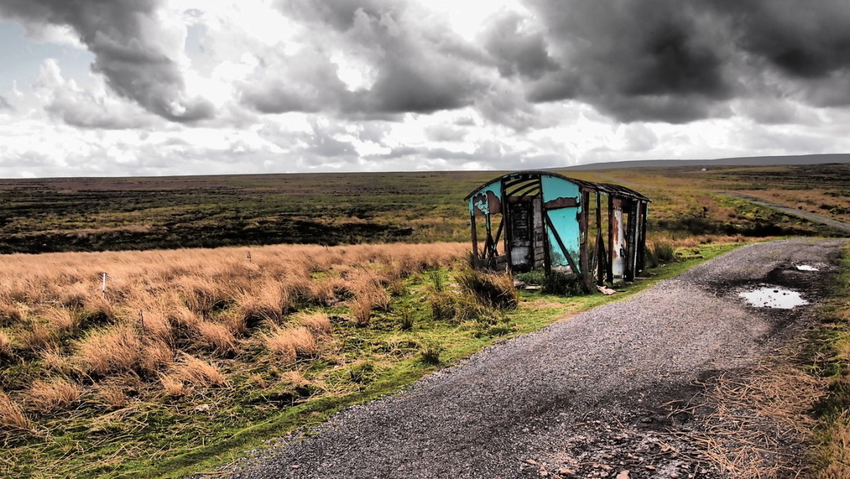 Sleightholme Moor road near Tan Hill, an old railway van once used for storing winter feed for sheep (cattle couldn't survive up here)