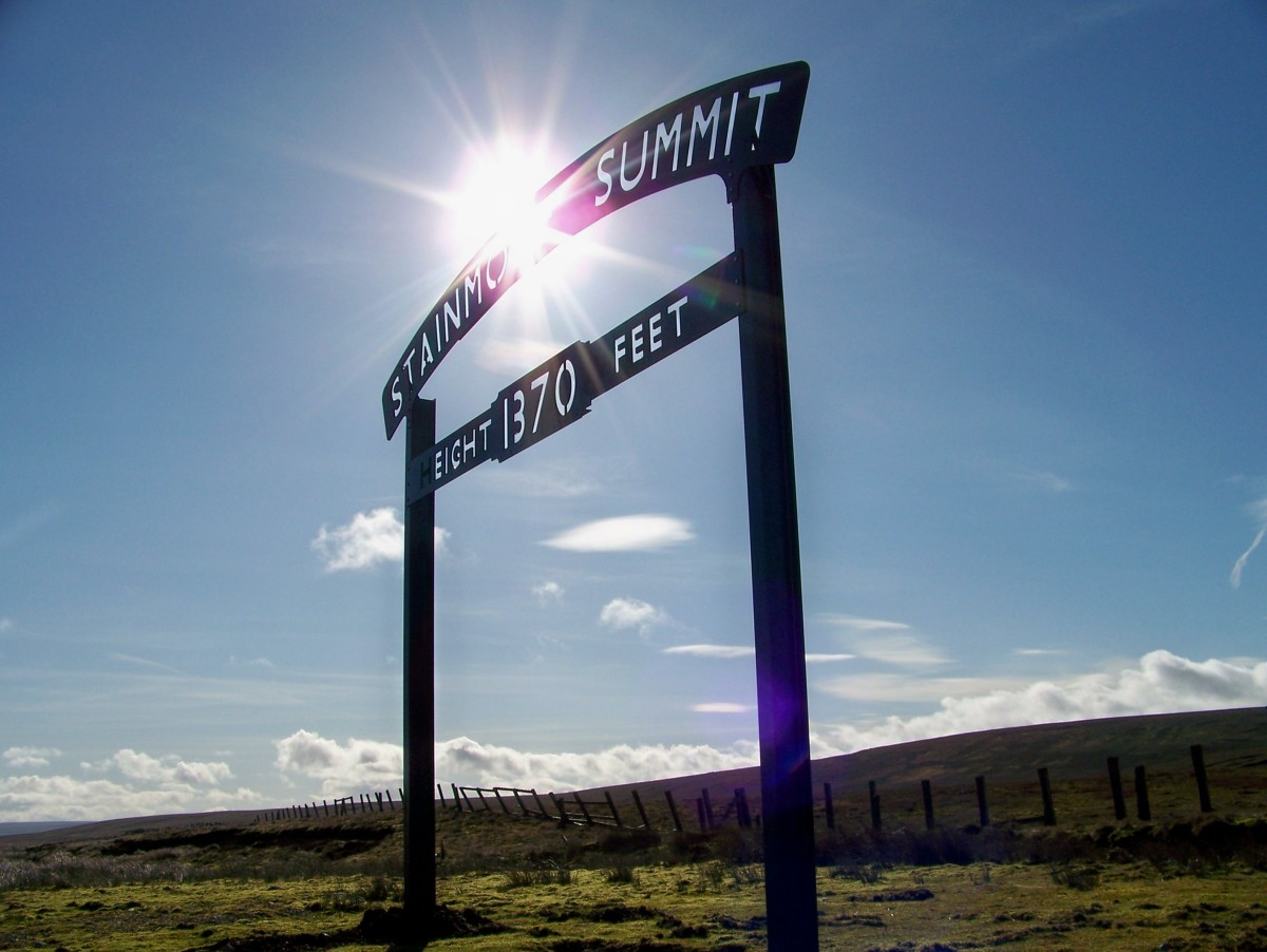 Stainmore Summit board, the highest point on the line between Barnard Castle in southern County Durham and Tebay, Cumbria - the sign previously stood beside the railway from Barnard Castle to Kirkby Stephen and Tebay