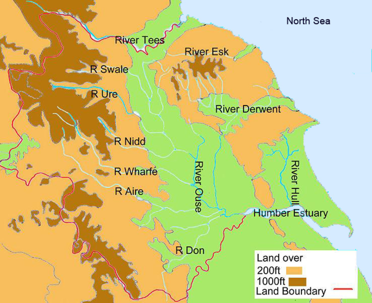 The riverways of Yorkshire and South Durham. They empty into the North Sea within a hundred miles between the Tees and Humber
