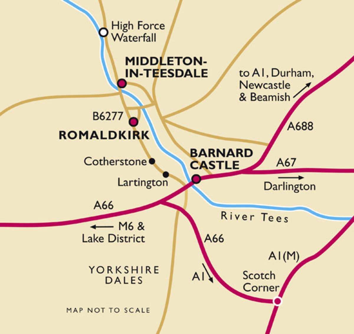 Road routes between the A1 and Middleton-in-Teesdale