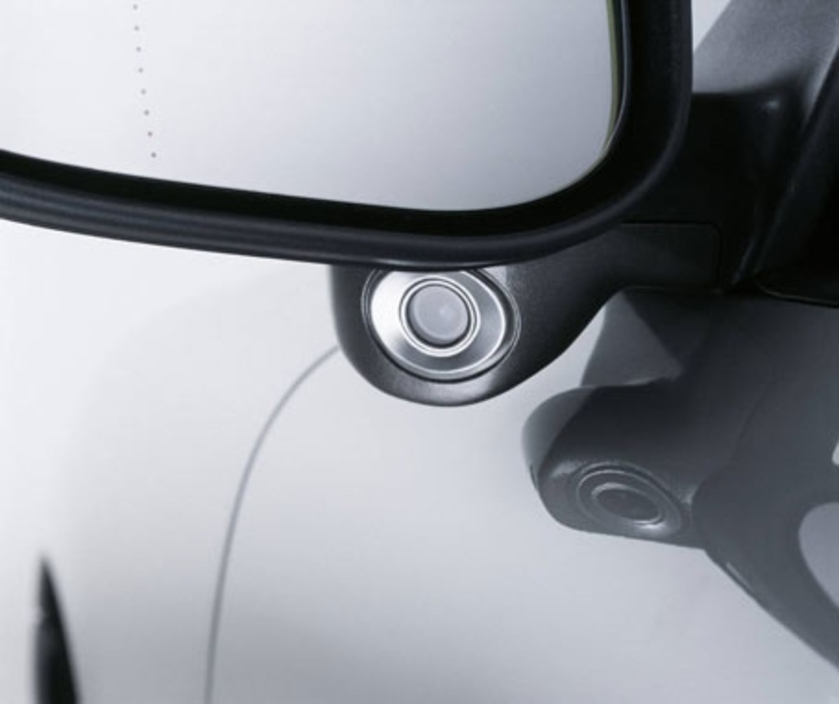Volvo's blind spot monitor system, camera just below the side mirror.