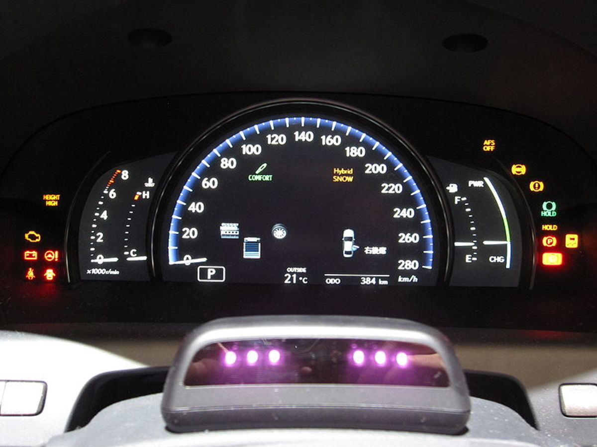 Driver Monitoring System, 2010, Toyota. The IR emitter / camera cluster visible in foreground