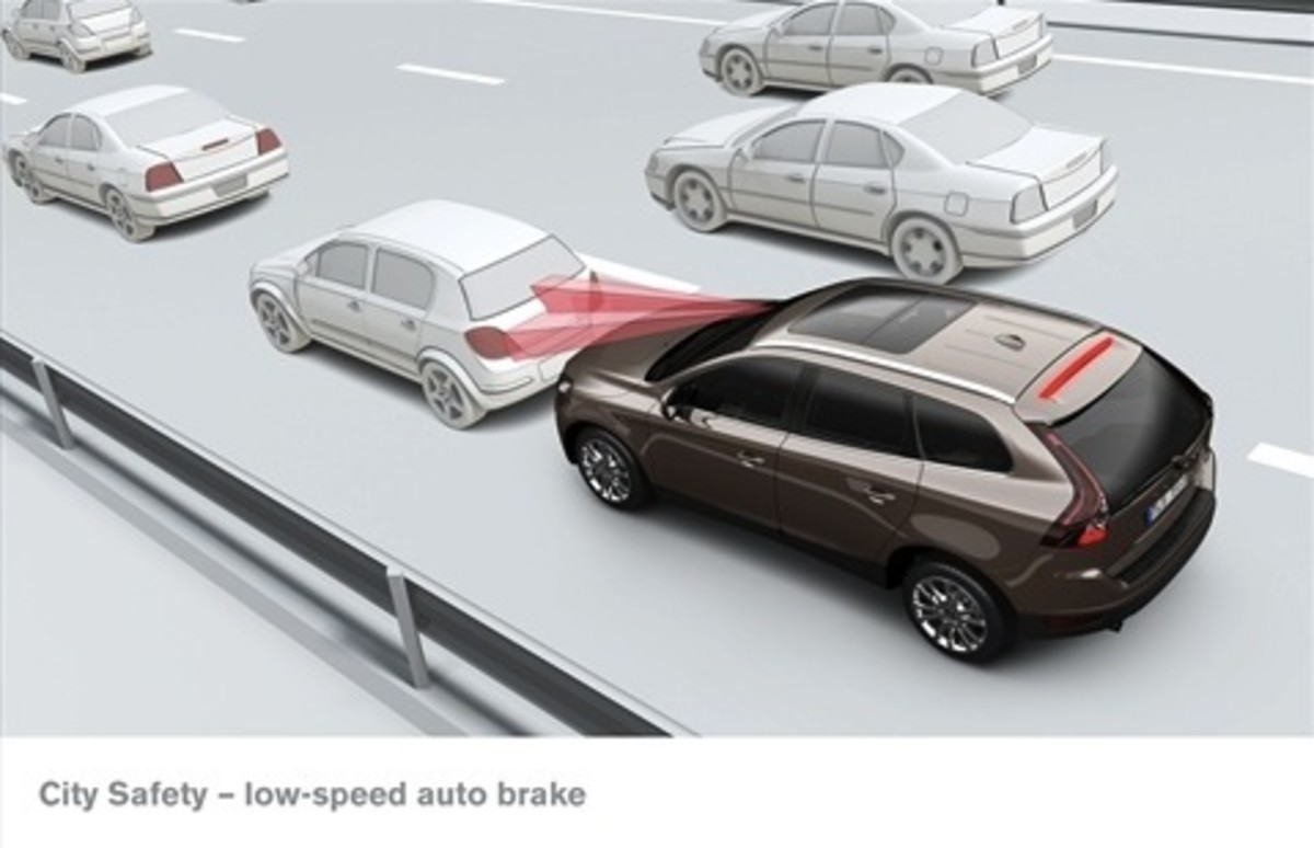 Volvo's City Safety system use radar to avoid low-speed collision by engaging brakes automatically. Next generation will add a camera to help make the system smarter.