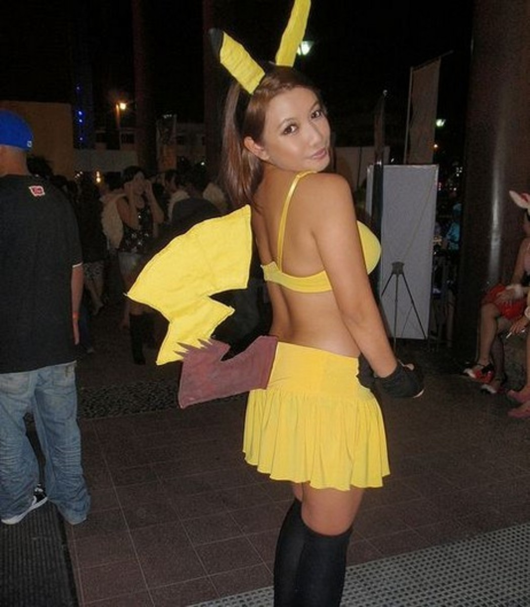 Pikachu Girl using a skirt and felt tail.