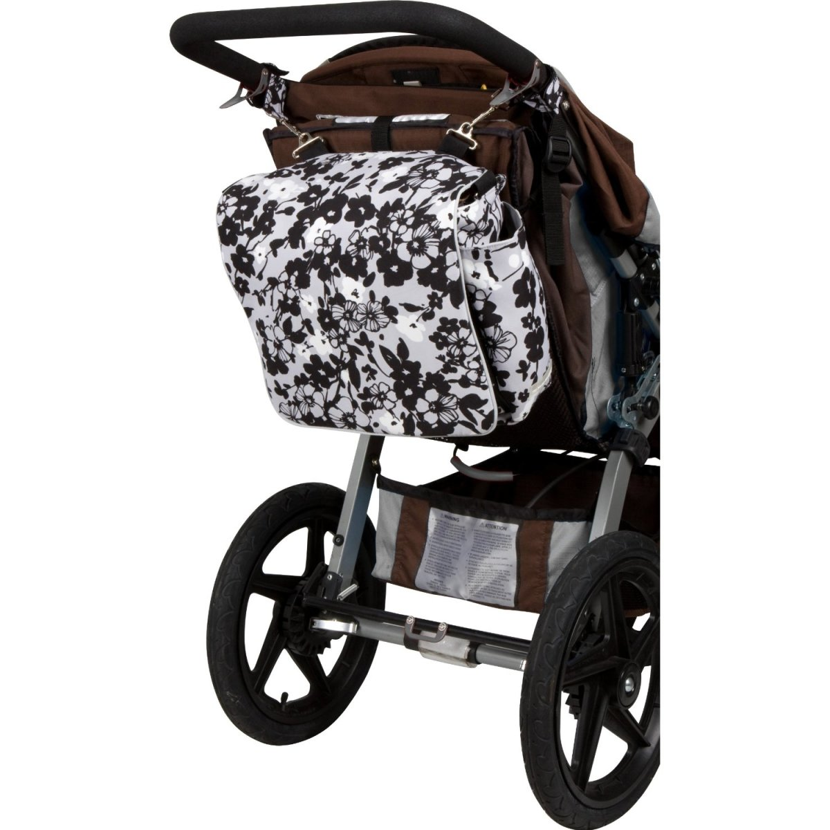 Bumble Bags diaper bag hanging from the stroller.