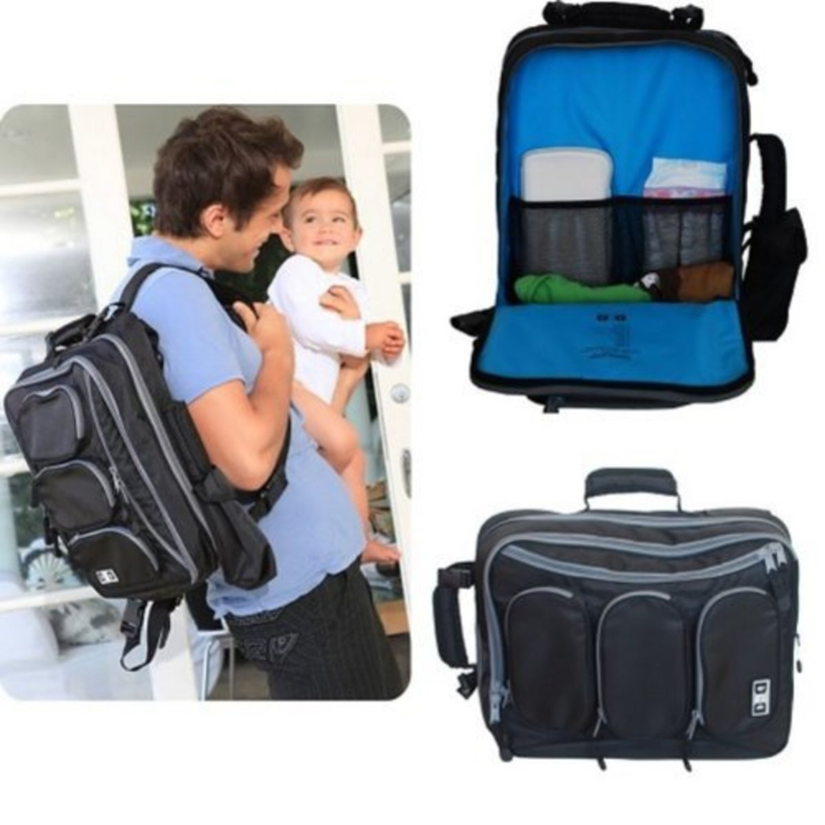Convertible messenger and backpack diaper bag by Diaper Dude.