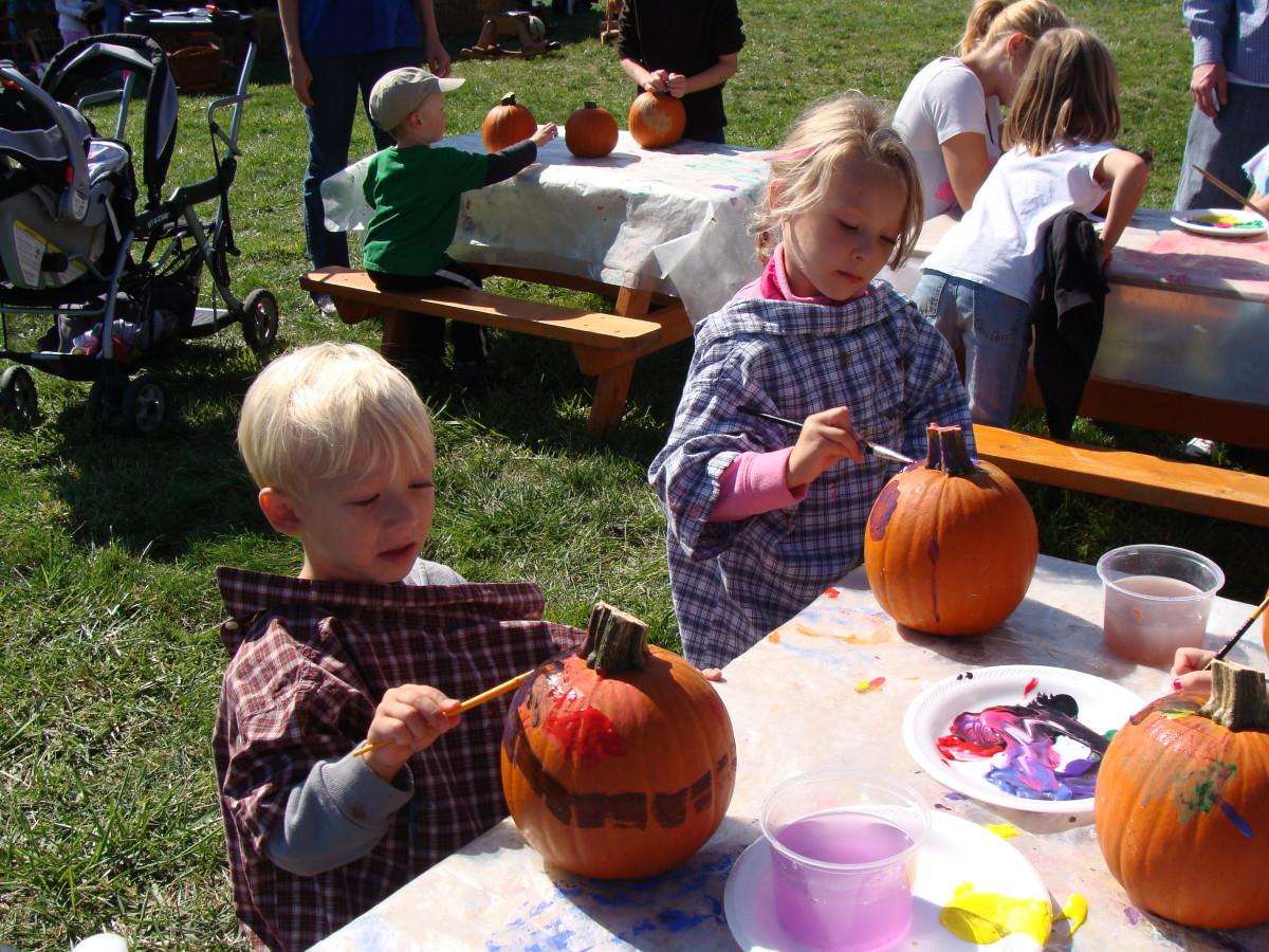 Pumpkin painting fun.
