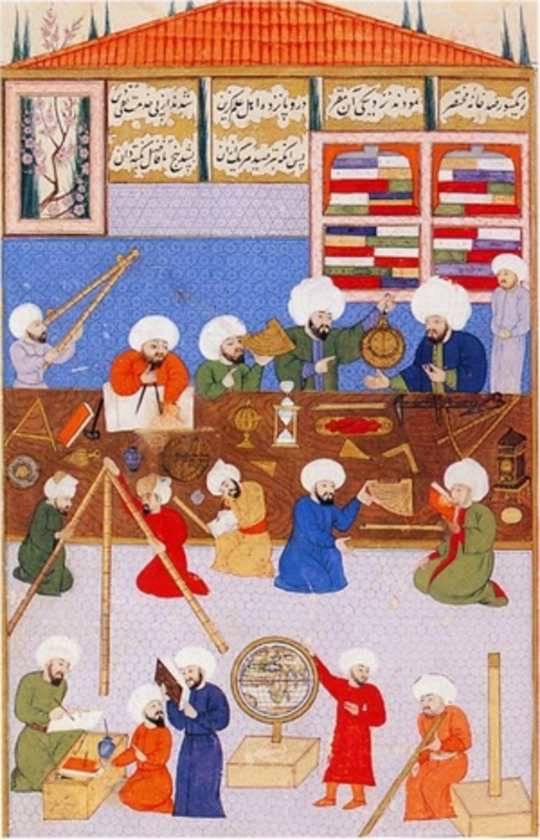 Depiction of astronomers at work in the observatorium of Taqi al-Din. Though it was painted after the height of the Islamic empire, it is an example of Islamic patronage of astronomy.