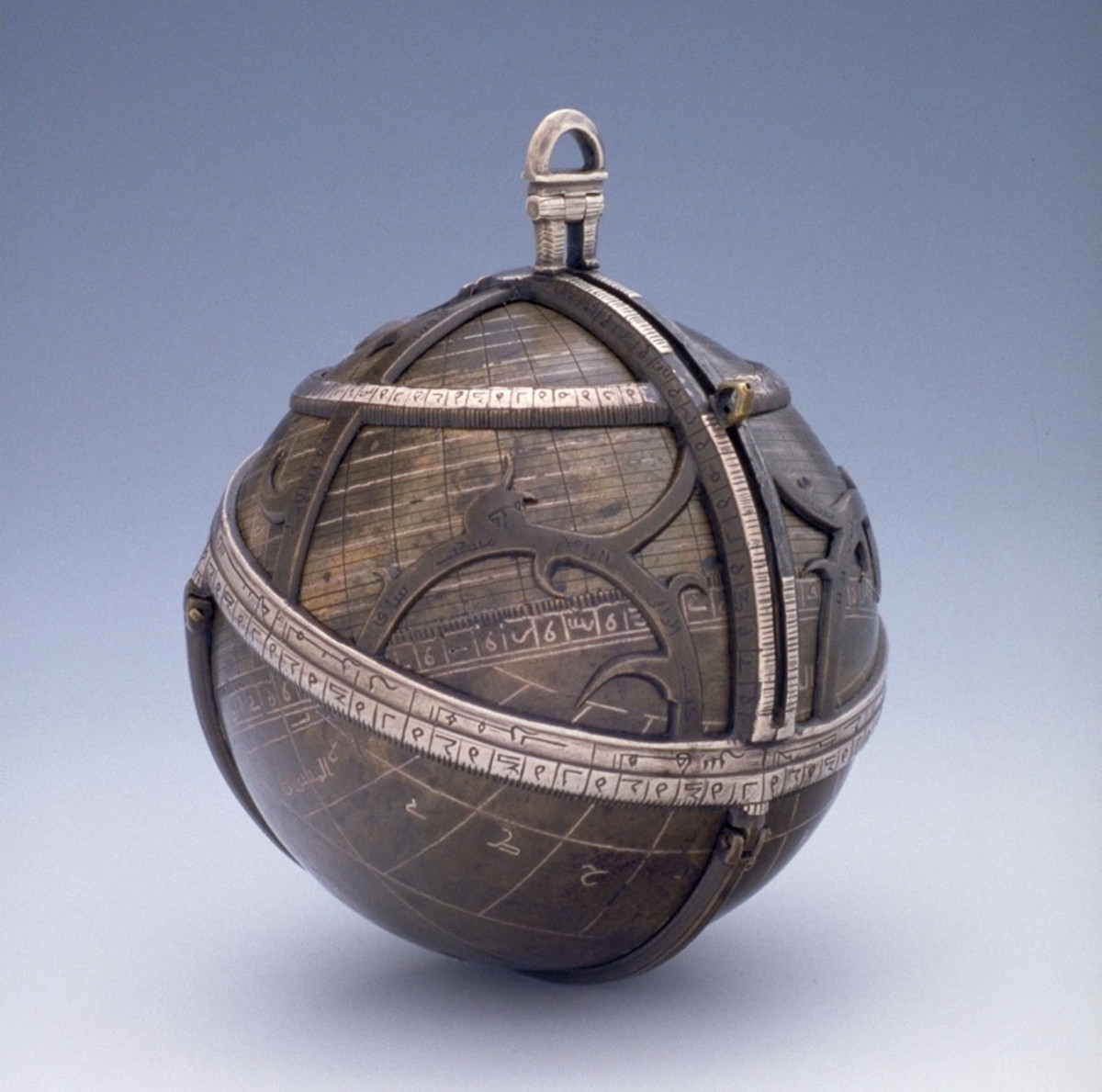 A spherical astrolabe, made of brass/