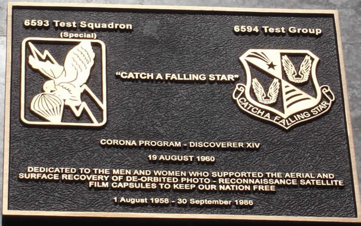 A plaque placed in remembrance of the 6594th Test Group which was deactivated in 1986 after 27 years.