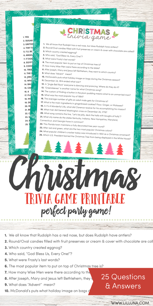 Lil Luna has some beautiful, free, fun printables with a Christmas theme...like this trivia game pictured