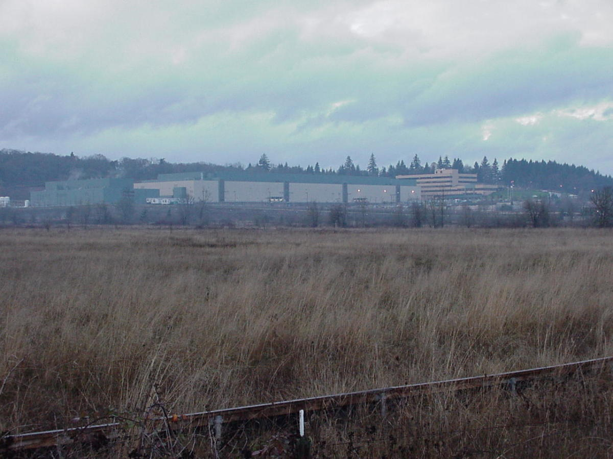 Seen in the distance, this plant manufactured electronic memory products for about a ten year period in Eugene, OR.  Shixiu worked for about the last four years until the closure in the fall of 2008